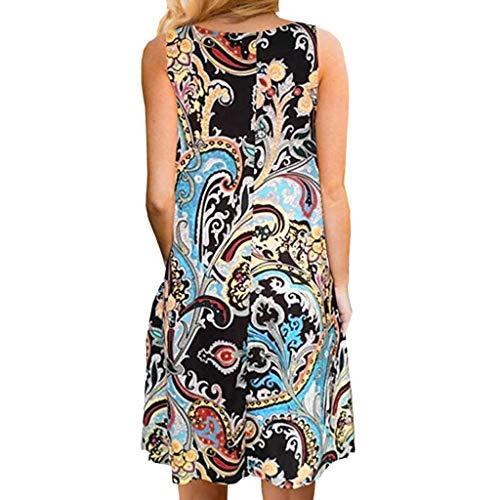 Mini 1 Beach robe Imprimée Femmes Été Boho Manches Robe Sans Mini Courte Multicolore lmmvp Ancien c3qSj4ALR5