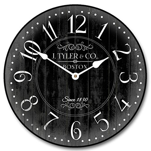 Harbor Black Wall Clock, Available in 8 sizes, Most Sizes Ship 2 - 3 days, Whisper Quiet.