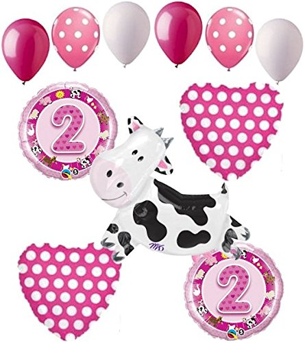 11 pc 2nd Birthday Cow Balloon Bouquet Happy Decoration Farm Animal Second Girl (Cow Girl Party Decorations)