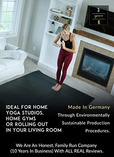 Square36 Super Large Yoga Mat 6 Ft x 6 Ft. Made in Germany Using The Highest Grade, Certified Tested Least Toxic Materials. Designed for Barefoot Home Yoga, Pilates, Meditation Rehabilitation.
