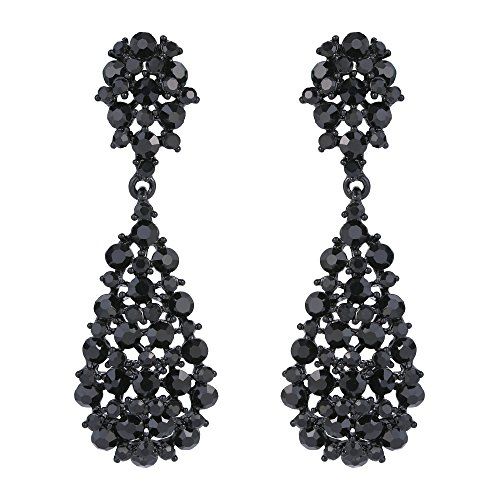 - EVER FAITH Women's Austrian Crystal Party Hollow-out Teardrop Dangle Earrings Jet Color Black-Tone