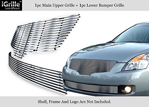 Compatible with 2007-2009 Nissan Altima Sedan Stainless Steel Billet Grille Combo S18-C56778N