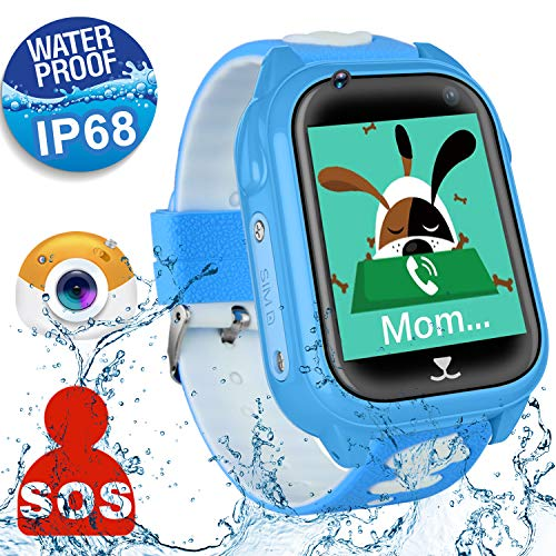 [SIM Card Included] Kids Smart Watch Phone for Girls Boys, Waterproof IP68 GPS Locator SOS Wrist Smartwatch Sport Watch Game Camera Anti-lost Alarm Clock Learning Toys Christmas Holiday Birthday Gifts