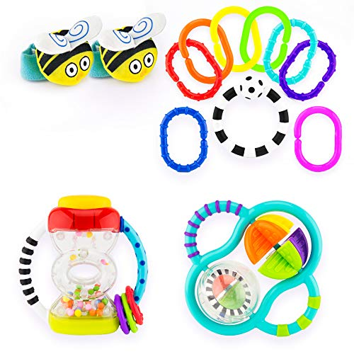 Sassy My First Rattles Gift Set 0+ Months Featuring 4 of Our Favorite Sassy Rattle Toys, Bee Wrist Rattles, Hourglass Rattle, 9pc Ring O'Links, Grasp and Spin Rattle (Rattles Toys Set)