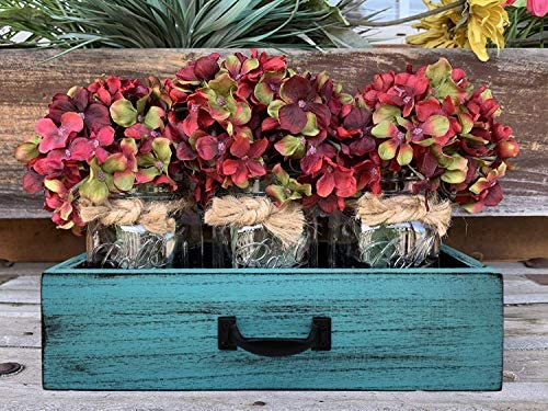 YAPASPT Glass Mason Jar Centerpiece Wood Tray