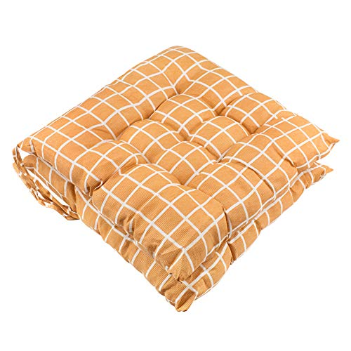 Titta Seat Patio Cushion Chair Mat Set of 2 Chair Cushions Furniture Garden Square Chair Pads for Home Office Outdoor Indoor 15x15 inch Orange Checkered