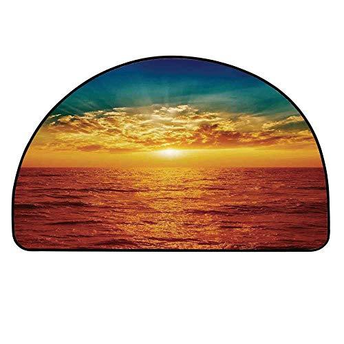 YOLIYANA Ocean Decor Half Round Door Mat,Sunset Clouds Exotic Seaside Sun Rays Magical Evening View Decorative Picture Print for Indoor Outdoor,17.7