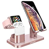 BENTOBEN 3-in-1 Charging Stand, Universal Charging Dock Station for Airpods 2/1 Apple Watch Series 4/3/2/1 iPhone Xs Max XS XR X 8 7 6S 6 Plus SE 5S 5 Android Smartphone iPad Tablet, Rose Gold