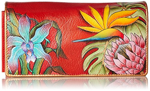 Accordion Purse Wallet (Anuschka Women's Hand Painted Accordion Flap Wallet | Genuine Leather | Island Escape)