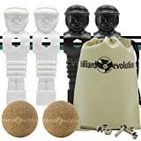 4 Black and White Tournament Style Foosball Men & 2 Cork Balls with Free Screws & Nuts in Billiard Evolution Drawstring Bag