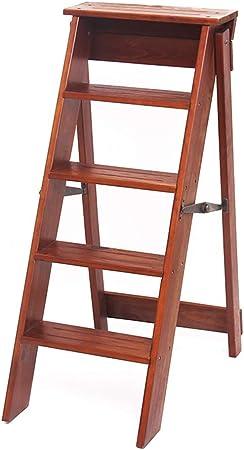LILVLI-HAN Pliegue de Madera Maciza Hogar Escalera pequeña de Cinco escalones Escaleras Simples Multifunción Escaleras ascendentes Creativas para Interiores Silla Taburete,Marrón: Amazon.es: Hogar