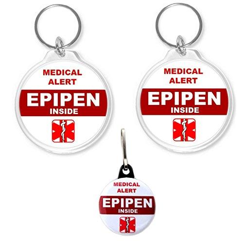 Epipen Inside Medical Alert Bag Tag Back-to-back Design 2pcs 2