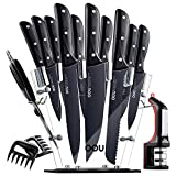 Knife Set, OOU 15 Piece Kitchen Knife Set, High Carbon Stainless Steel, FDA Certified BO Oxidation for Anti-rusting, Ultra Sharp Premium Edge Tech, Full Tang Black Chef Series