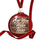 Christmas Decoration Painted Wood Real Men Make Twins Ornament