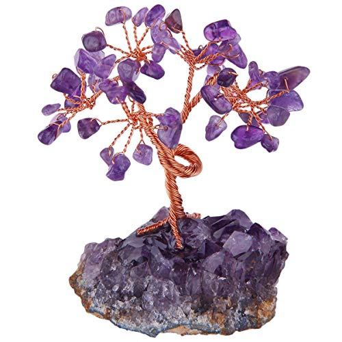 rockcloud Natural Crystal Tree Stones Chips Money Tree with Amethyst Base Home Decoration for Wealth and Luck, Amethyst ()