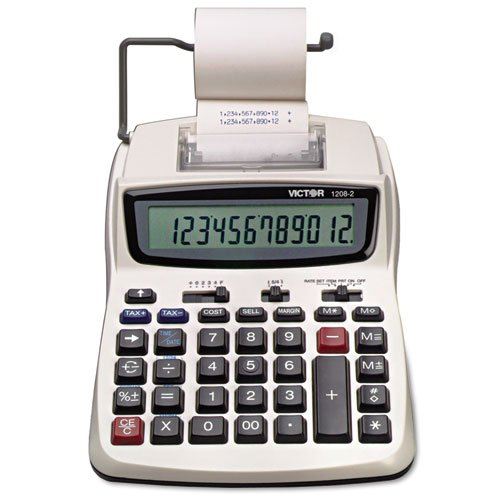Victor - 1208-2 Two-Color Compact Printing Calculator, Black/Red Print, 2.3 Lines/Sec 1208-2 (DMi EA by Victor