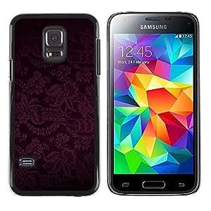iKiki Tech / Estuche rígido - Dark Black Purple Floral Pattern - Samsung Galaxy S5 Mini, SM-G800, NOT S5 REGULAR!