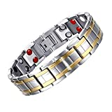 JFUME Mens Magnetic Therapy Bracelet 18K Gold Plated with Silver Color Pain Relief for Arthritis 8.5Inches