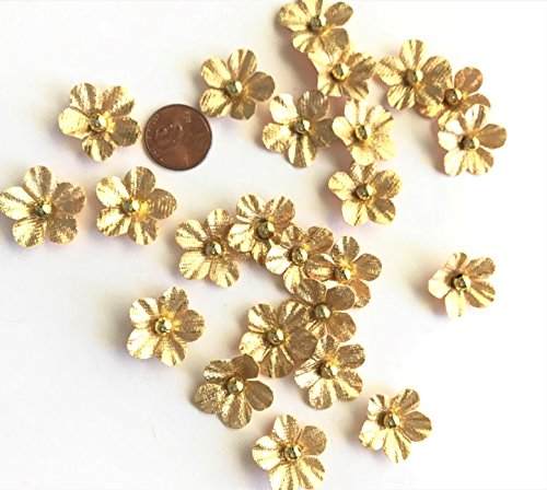 Mini Faux Gold Flower Embellishments, 24 Pcs, craft projects, sewing on apparel, scrapbooking, cards, Elegant Blooms & Things