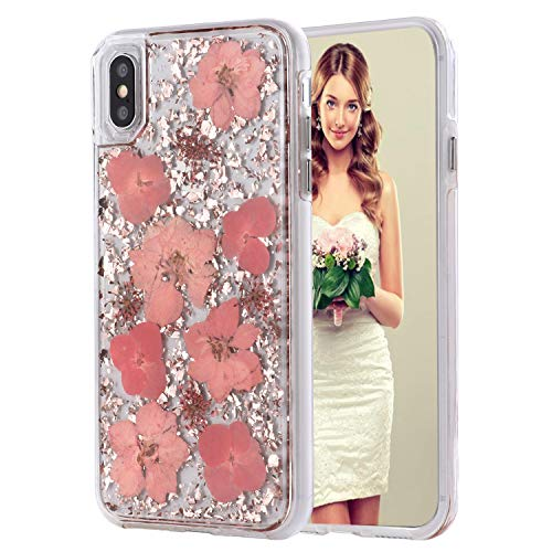 iPhone 8 Case, iPhone 7 Case,Inkomo Women Luxury Fashion Natural Flower Glitter Foil Sparkle Hard Back Cover with Clear TPU Bumper Protective Phone Bling Case for iPhone 8 / iPhone 7/ 6s (Pink Flower)