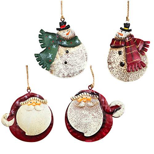 Amosfun 4 unids Navidad Decoraciones Colgantes adorables Colgantes de Hierro árbol de Navidad Adornos Regalo de cumpleaños...