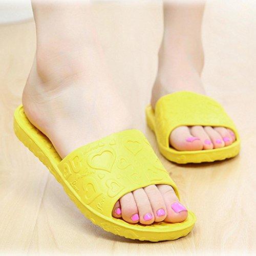 Tenworld Anti-Slip Flat Bath Slippers Slide-on Women's Shower Poolside Sandal (6, Yellow) (Deluxe Red Hair Spray)