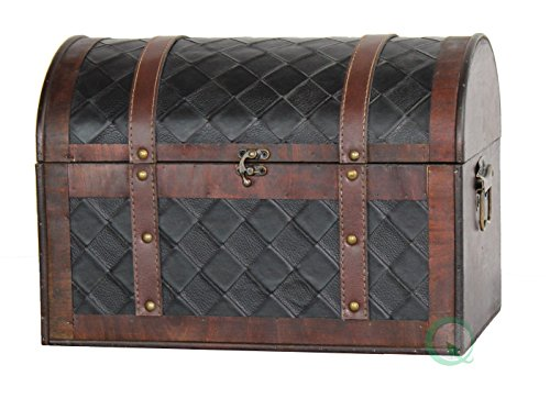 Vintiquewise Wooden Leather Treasure Chest product image