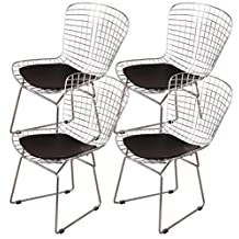 OCC set of 4- Harry Bertoia Chromed Steel Wire Frame Side Chairs with Leatherette PU Pad, Black