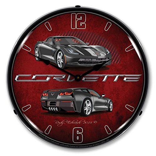 Lighted C7 Corvette Cyber Grey Clock