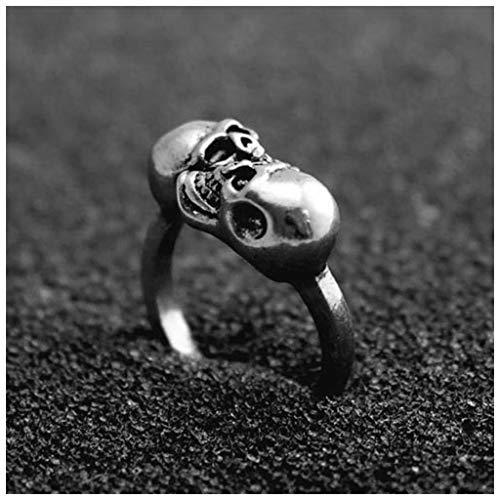 MIXIA Vintage Punk Rock Adjustable Open Skeleton Rings for Women Men Gold Silver Color Gothic Skull Finger Rings Halloween Jewellery (Antique (Skull Adjustable Ring)