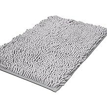 Pershoo Washable Soft Shaggy Non Slip Absorbent Bath Mat Bathroom Shower Rugs Shaggy Carpet - Grey