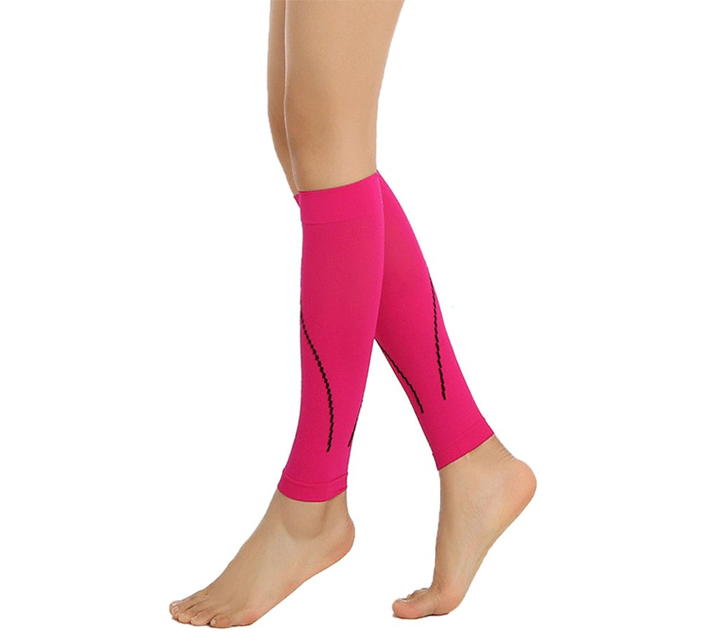 Calf Compression Sleeve-Leg Compression Socks 20-30mmHg 15-20mmhg For Women&Men-Best Footless Socks For Shin Splint & Calf Pain Relief,Running,Cycling,Maternity,Travel,Nurses (Rose Red, XL) by DR.ICE