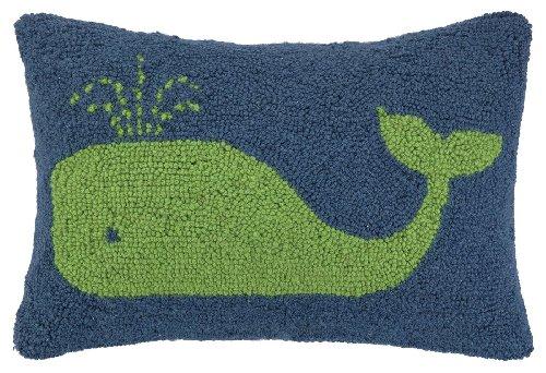 Peking Handicraft Hook Pillow, 12 by 18-Inch, Green Whale