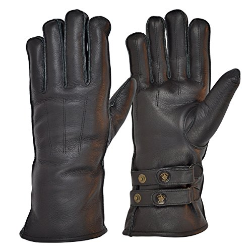 goldtop-black-leather-twin-strap-cafe-racer-gauntlet-style-sheepwool-lined-motorcycle-gloves-xl-95-t