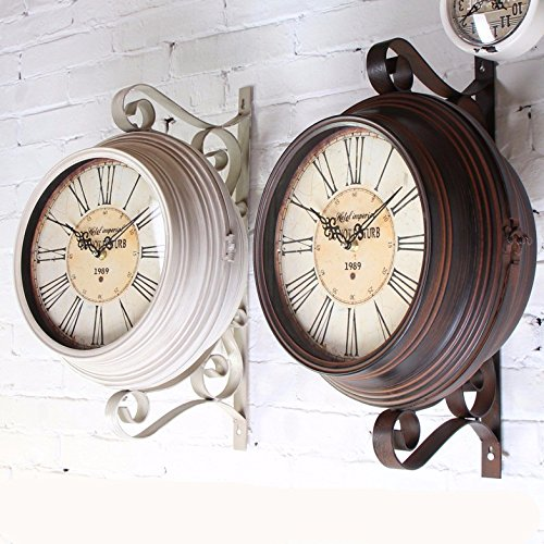 Vintage Roman Numerals Double-Sided Wall Clock Large Art Decor Modern Mechanism For Kitchen, Living Room, Office For Kids,14 Inch,Black