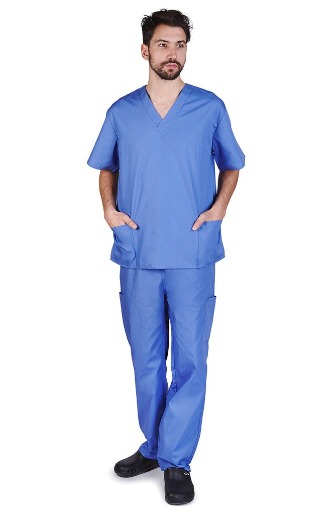 NATURAL UNIFORMS Men's Scrub Set Medical Scrub Top and Pants L Ceil Blue