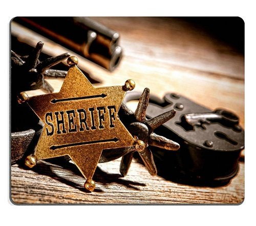 Natural Rubber Gaming Mousepad American West Legend Sheriff starlawman Medallion with Tools of The Trade
