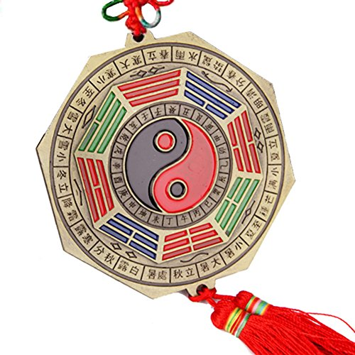 Feng Shui Tai Chi Bagua Mirror Traditional Chinese Yin Yang Pakua Mirror with Chinese Knot Tassel for Auto Car Home & Office Decor (Copper Yin Yang Ornament)