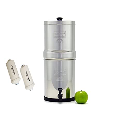 travel berkey water filter with 2 black berkey filters and 2 pf2 fluoride filters