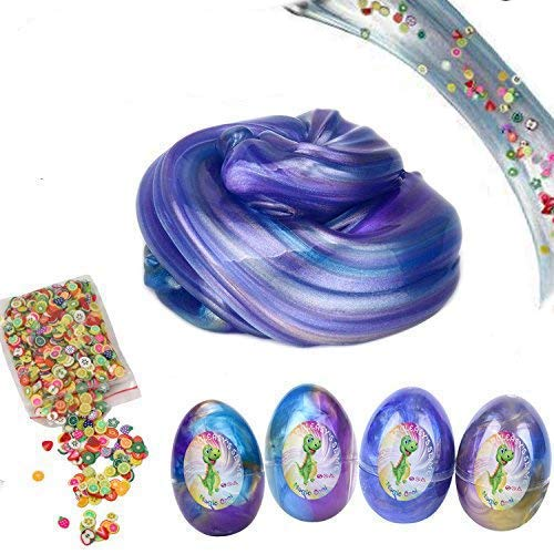 (SLOUEASY Slime 10 oz 4 Pack Crystal Galaxy Fruit Pack Egg Slime,Glitter Putty Fluffy Slime Toy, Scented Stress Relief Sludge Clear Clay Jumbo Slime Toy for Girls and)