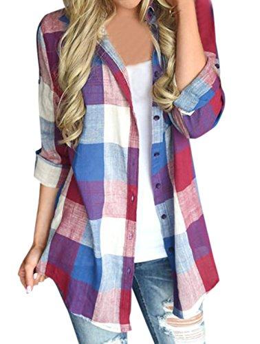 Grille Blouses Tops Shirts Casual Tunique Longues et Rouge Chemisiers Mode Printemps Chemises Hauts Manches Femmes Imprime Revers Automne 7nqYz