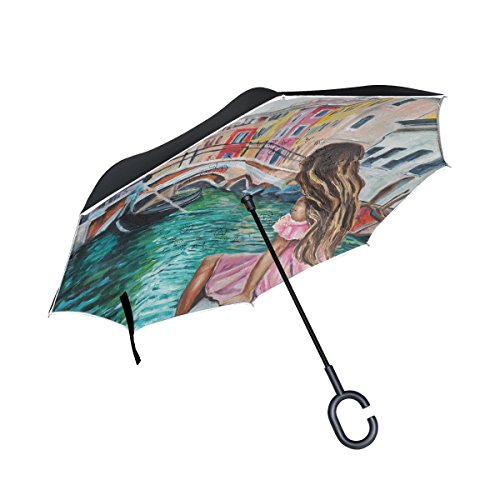 (ALAZA Double Layer Inverted Umbrella Cars Reverse Umbrella Italy Venice Lady Oil Painting Windproof UV Proof Travel Outdoor Umbrella)
