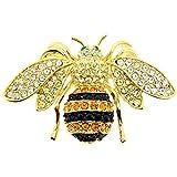 Black And Golden Bee Swarovski Crystal Pin Bug Pin Brooch