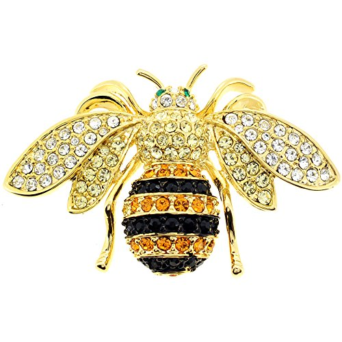 Black And Golden Bee Swarovski Crystal Pin Bug Pin Brooch (Black Brooch Designer)