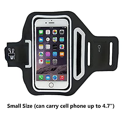 QINBOO Universal Sports Armband for 4.7 Inch Screen Apple Iphone 6 / 6s, Waterproof & Sweatproof Running Arm Belt, With a Small Holder & Pouch for Keys, Cards, Black