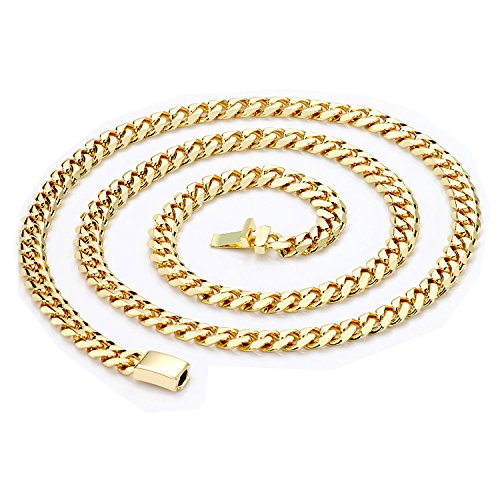 Riveting Jewelry 14K Gold Chain Necklace 9MM Diamond Cut Miami Cuban Link Style Real Solid Clasp w/Round Edges (22)