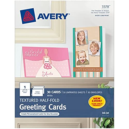 Avery Textured Half-Fold Greeting Cards for Inkjet Printers, Uncoated, 5.5 x 8.5 Inches, White, Box of 30 (03378) Sales