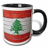 3dRose Carsten Reisinger Illustrations - National flag of Lebanon painted onto a brick wall Lebanese - 11oz Two-Tone Black Mug (mug_156923_4)