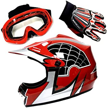 Motocross MX BMX Bike Youth Spider Red Helmet (Size: Medium) + Goggle + Skeleton Glove (Size: Medium)