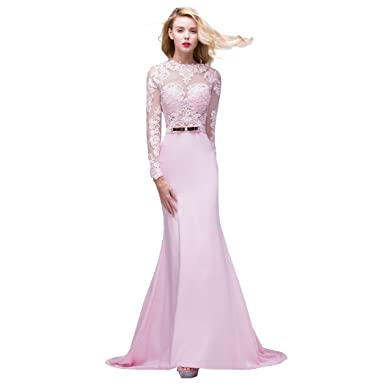 Ok Dress Long Sleeve Lace Mermaid Wedding Prom Dresses 2015 Backless ...
